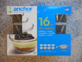 NEW Anchor Mini Bakers glassware 16 Pieces  8  6 ounce dishes = 1 Recipe - $19.99