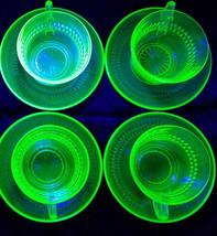 Vtg Anchor Hocking Depression/Uranium Glass Roulette Green Cups/Saucers ... - $43.20