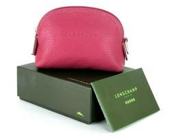 LONGCHAMP Paris Hot Pink Leather Coin Case Accessories Pouch W/ Box Good... - $107.91