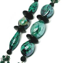 "NECKLACE BLACK, GREEN SPOTTED DROP OVAL MURANO GLASS, MULTI WIRES, 90cm 35"" LONG image 3"
