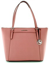 Michael Kors Rose Pink Ciara Jet Set Saffiano Leather Shopper Tote Bag H... - $304.73