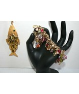 Vintage Set Gold Tone Articulated Fish Pendant Navette Rhinestones + Bra... - $24.00