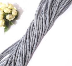 Approx 4mm width 10-170 yds Gray Braid Cotton Cord String Drawstring Rop... - $5.99+