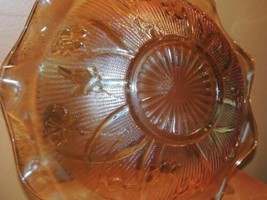 "Large 11.5"" Iris & Herringbone Depression Glass Bowl Marigold/ Carnival ... - $18.99"