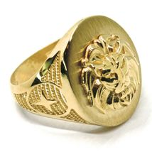 SOLID 18K YELLOW GOLD BAND MAN RING, LION HEAD IN RELIEF, OVAL, VERY DETAILED image 3