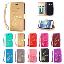 New Hot Stamping Golden Pattern Magnetic Stand Case for Samsung Galaxy J1 2015 - $8.63