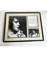 ELVIS PRESLEY THE KING Framed 11x14 2 Black White Photo + Info Copied Si... - $37.04