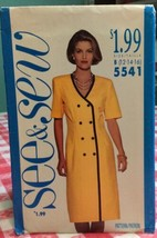 1991 See & Sew Butterick Sewing Pattern 5541 12-16 Dress Uncut - $5.45