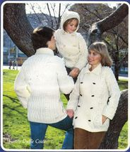 1980 Aran Fisherman Knits For Family Duffle Coats Vests Cardigan Pattern... - $13.99