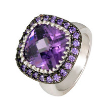 Pave+ 12MM Cushion Cut Amethyst Cubic Zirconia RING-BRIDAL-AAA Stones - $39.99