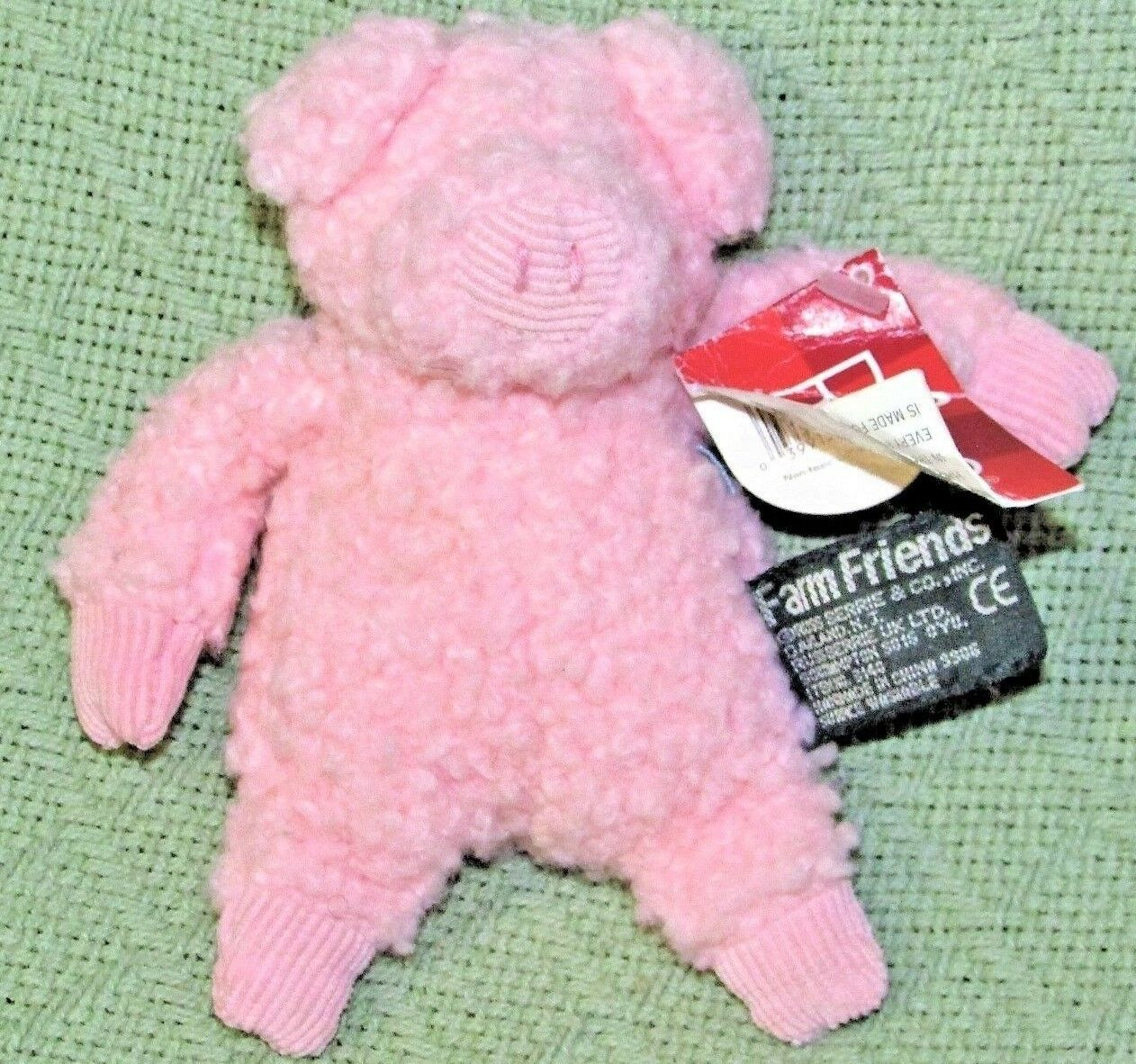 Russ Berrie Bean Bag FARM FRIENDS Pink Wooly PIG with Tag Heartfelt Collection  - $19.80