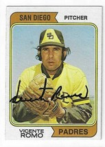 Vicente Romo Signed 1974 Topps Card / Autographed - $24.24