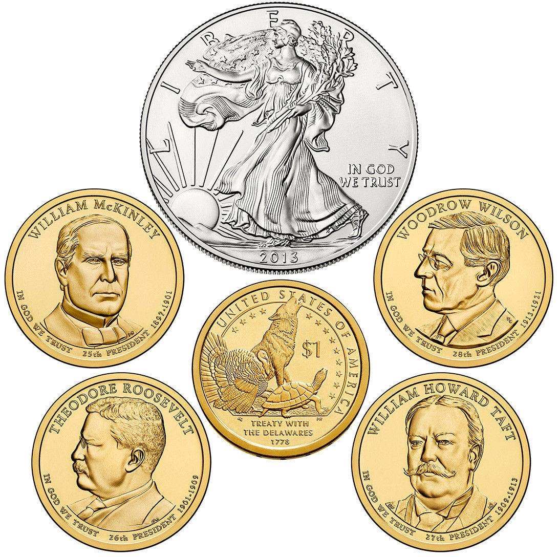2013 W US Mint Set Unc Silver Dollar & Native American Golden + 4 Presidents XA5