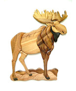 Standing Moose Wood Intarsia Wall Art Home Decor Plaque Western Lodge New - $73.76