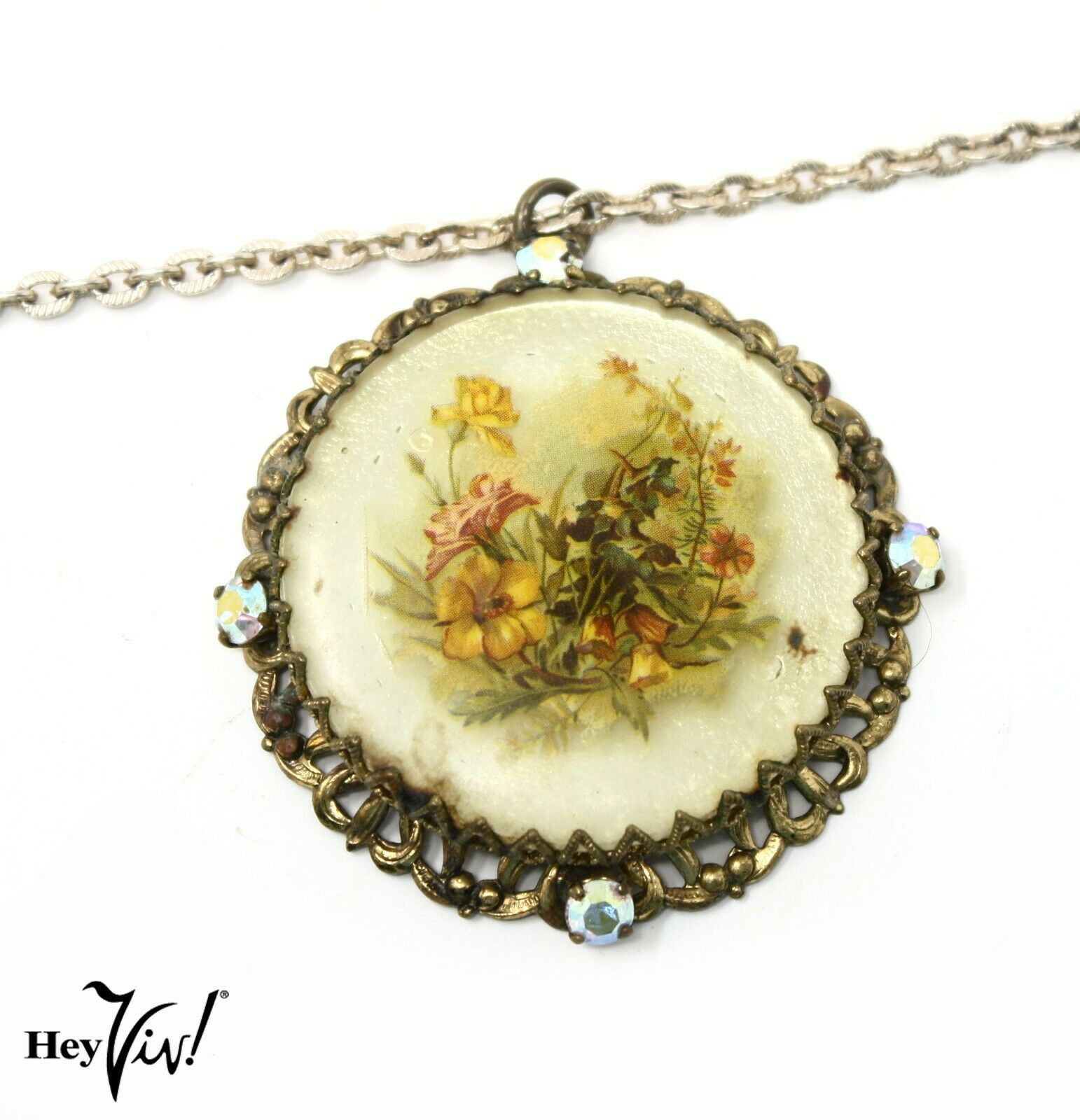 Primary image for Vintage Pendant Necklace - Delicate Yellow Flowers on Filigree Round - Hey Viv
