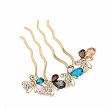 European Style Hair Comb Metal Bowknot Rhinestones Hair Decoration, Colorful