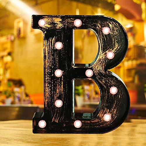 Industrial Style Light Up Letters: Golden Led Marquee Letter B
