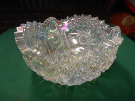 Beautiful L.E.SMITH Cut Crystal Saw Tooth IRIDESCENT BOWL Comet in the S... - $55.03