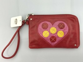 NWT Fossil Leather Heart Candy Icon Red Wristlet Clutch Wallet Bag - $34.64
