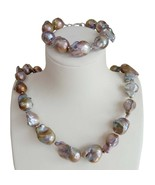 free shipping big violet baroque pearl jewelry set 100% NATURE FRESHWATE... - $128.83