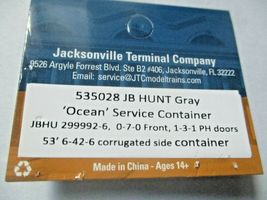 """Jacksonville Terminal Company # 535028 JB Hunt Gray """"Ocean """" 53' Container (N) image 5"""