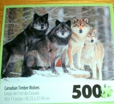 Jigsaw Puzzle 500 Pieces Timber Wolves Canadian Wilderness Wildlife Comp... - $9.89