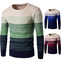 Men Knitted Sweater O Neck Striped Patchwork Casual Long Sleeve Pullover... - $27.99