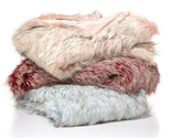"A by Adrienne Landau Tip Dye Ombre Faux Fur Throw, Rose, Size 50""X70"""