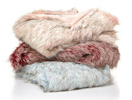 "A by Adrienne Landau Tip Dye Ombre Faux Fur Throw, Rose, Size 50""X70"" - $59.39"
