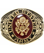 Gold Plated Deluxe 18k US Army Engraved Ring w/ Crystal Stone - $49.99