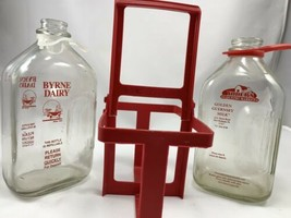 Byrne Dairy and Yoder 1/2 Gallon Glass Milk Bottles with Plastic Carryin... - $33.81