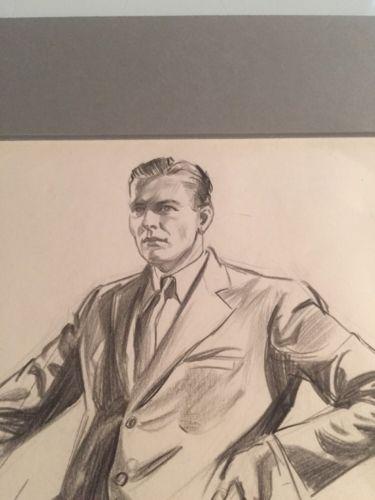 John Gould / Original Sketch / Man In Suit / Hand Signed