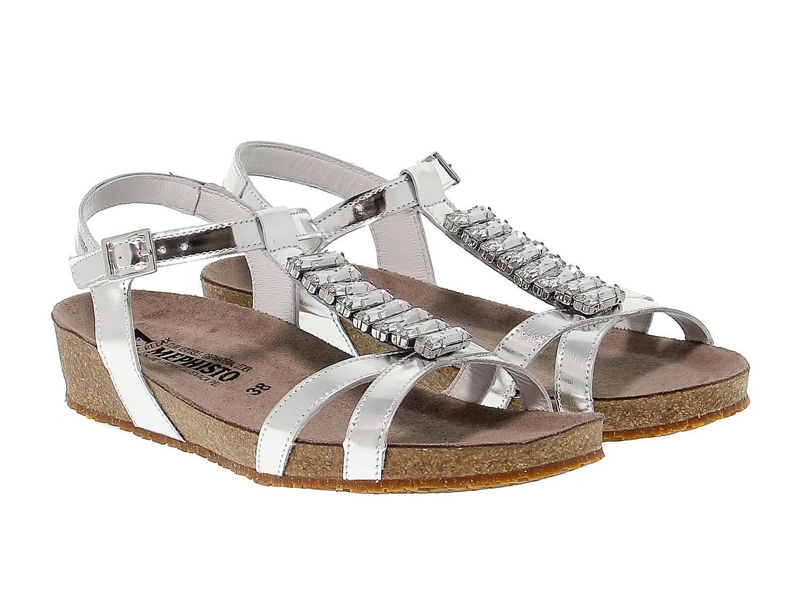 Sandalia plana MEPHISTO IBELLA de cuero plata - Zapatos Mujer