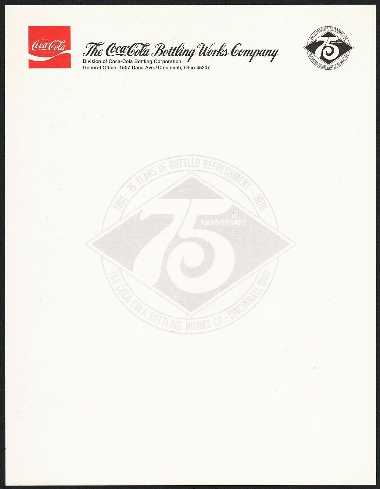 Primary image for Vintage letterhead COCA COLA 75th Anniversary Cincinnati Ohio unused n-mint+
