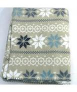 Cannon Throw Blanket Snowflake Tan White Blue 47.5 x 59 inch - $9.89
