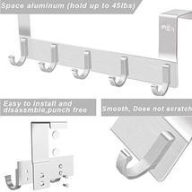 Rongyuxuan Over The Door Hooks, 2 Pack Aluminum Heavy Duty 5 Hooks Coat Rack,Dec image 5
