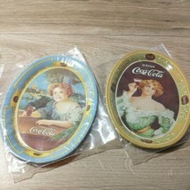 1973 Coca Cola Small Vintage Oval Mini Tin Tip Trays 6in x 4.5in Lot of 2 - $12.82