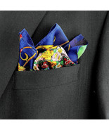 Men's Pocket Square Handkerchief Wedding Fashion Dress Floral Silk Blue ... - $19.75