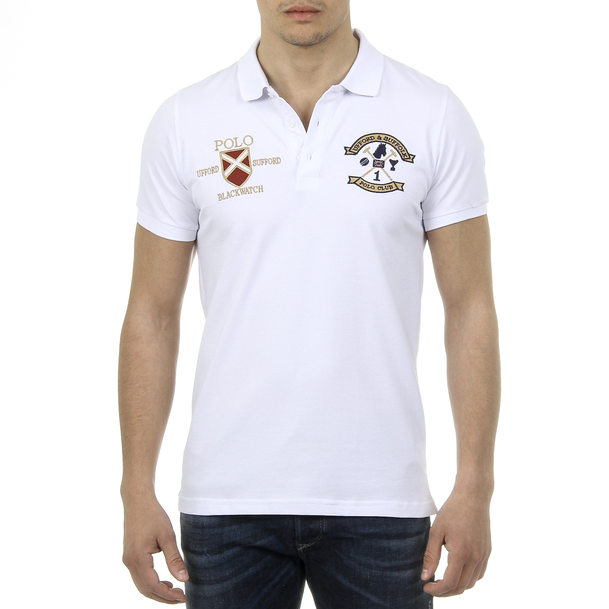 Primary image for Ufford & Suffolk Polo Club Mens Polo Short Sleeves US007 WHITE