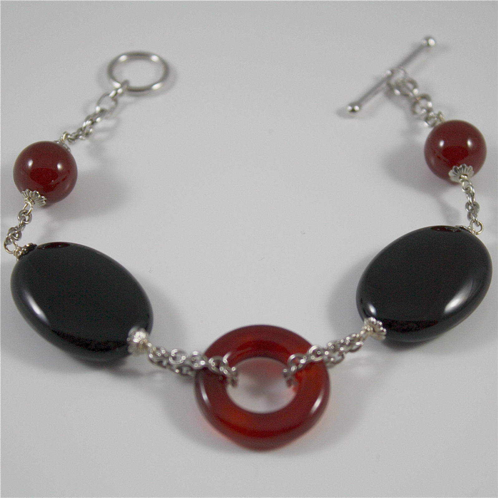 Bracelet in Sterling Silver 925 Rhodium with Carnelian Round Circle and Oval ...