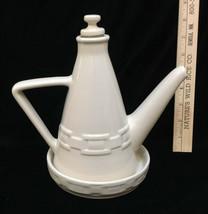 Longaberger Oil Bottle & Plate Ivory Color Woven Traditions Stoneware Set 2 Pc - $49.45