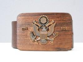 Vtg Leather Belt Wooden Buckle 1976 Brown Bicentennial United States Sea... - $23.00