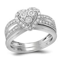 10k White Gold Womens Diamond Heart Bridal Wedding Engagement Ring Band Set - $950.00