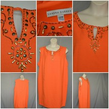 Sandra Darren Orange beaded career lined dress textured fabric SZ 24W - $9.88