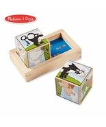 Melissa & Doug Farm Sound Blocks 6-in-1 Puzzle With Wooden Tray - $11.37