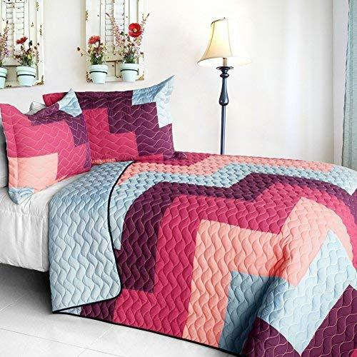 [Dream Garden] Brand New Vermicelli-Quilted Patchwork Quilt Set Full/Queen
