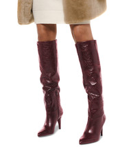 Michael Kors MK Women's Tall Knee High Leather Rosalyn Dress Boots Oxblood