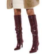 Michael Kors MK Women's Tall Knee High Leather Rosalyn Dress Boots Oxblood - $209.95