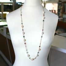 """18K ROSE GOLD LONG NECKLACE ROLO CHAIN, BIG 12mm PEARLS & TOURMALINE DROPS 35.4"""" image 3"""