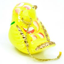 Handcrafted Painted Ceramic Yellow Canary Songbird Confetti Ornament Made Peru image 4